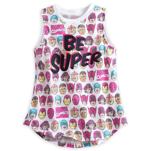 "Disney Store Girls Marvel /""Be Super/"" Super Hero Tank Shirt Tee sz 9//10 11//12 13"