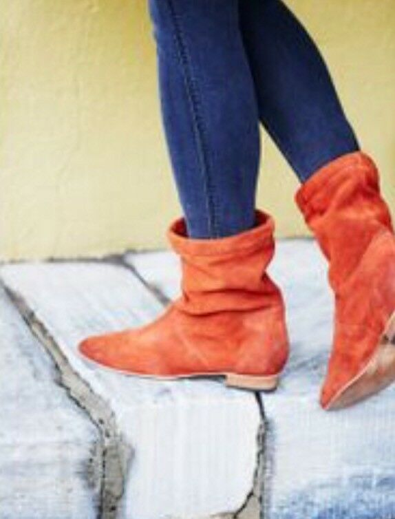 NEW Free People Ashville Slouchy Suede Ankle Boots Size 39 Rust