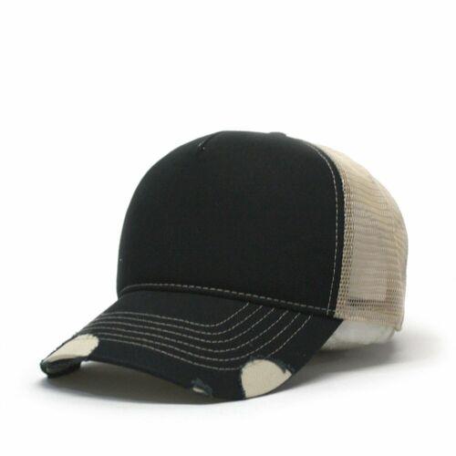 Vintage Year Plain Two Tone Cotton Twill Mesh Adjustable Trucker Baseball Cap