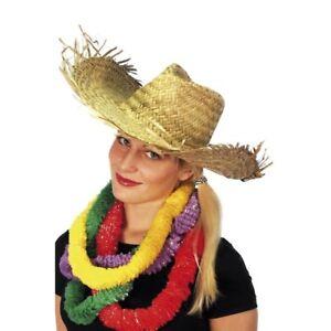 Women-Ladies-Hen-Party-Straw-Beachcomber-Hawaiian-Cowgirl-Style-Fancy-Dress-Hat