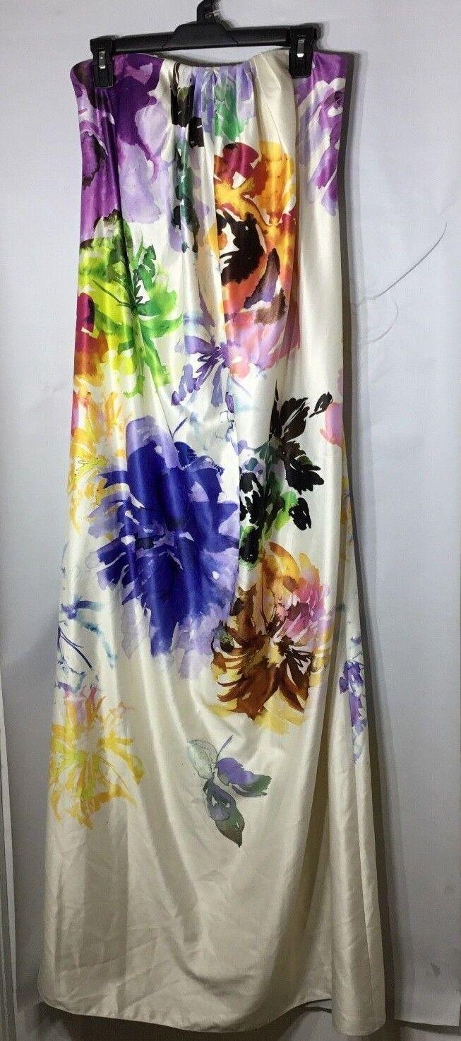 Woherren Nicole Miller Multi Floral Print Strapless Maxi DressGröße 8