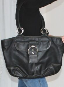 79dc8ab4 Details about HUGE COACH 5770 BLACK SOHO CARRYALL TOTE LAPTOP BUSINESS  TRAVEL WORK DIAPER BAG!