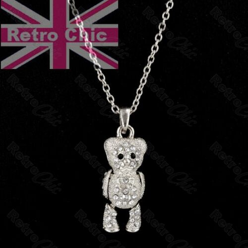 KITSCH crystal TEDDY BEAR moveable PENDANT/&CHAIN necklace set SILVER FASHION SET