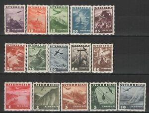 Austria-1935-Sc-C32-C46-MH-VG-F-Great-Austrian-airmail-complete-set