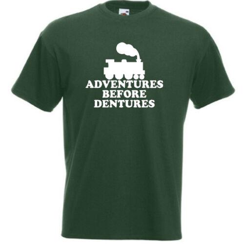 Steam Train ADVENTURES BEFORE DENTURES Funny Mens T-Shirt Gift 00 Narrow Gauge