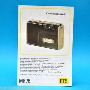 MR-76-Kleinkassettengeraet-DDR-1976-Prospekt-Werbung-Werbeblatt-DEWAG-RT5-E