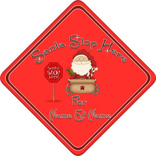 Santa personnalisé arrêter ici fenêtre SIGNE ~ nouvelle crème et rouge SANTA SLEIGH 289