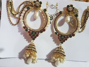 Beautiful Pakistani Afghani Bollywood  Round Earings with Saharas party wearing
