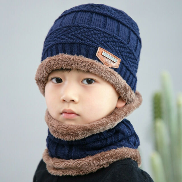 2PCS Kids Unisex Fleece Contrast Colors Knitted Warm Winter Hats Hat+Scarf Set