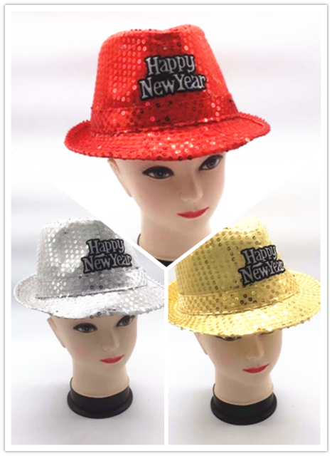New!! Happy New Year Sequin Trilby Hat Capone Party Costume Accessories 3 Colors