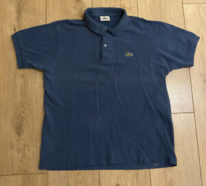 Lacoste Men's Polo T Shirt Blue Size 4 Small 100% Cotton Short Sleeve Marks