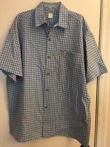 Men Cotton Shirt Short Sleeve Small Plaid Casual Button Down Shirt T9G1