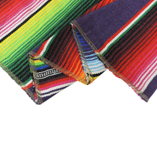 2pcs USA Sell Mexican Serape Table Runners Party Decor Fringe Cotton Tablecloth