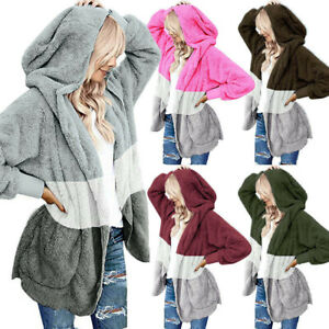 Women-039-s-Oversized-Open-Front-Hooded-Draped-Pockets-Cardigan-Coat-Tops-US