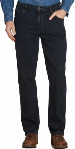 Wrangler Texas Stretch Blue Black Jeans in Waist 30 to 48 Inches L26 to 34