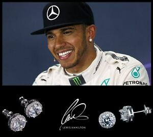 Men-039-s-Boy-039-s-Lewis-Hamilton-18ct-White-Gold-Plated-Designer-Crystal-Gem-Earrings