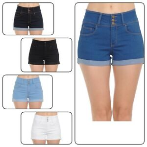 #90108 WaxJeans Women/'s Juniors Mid Waist Stretchy Push Up Shorts S-3XL