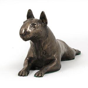 Bull-Terrier-lying-dog-bust-statue-on-wooden-base-ArtDog-Limited-Edition-UK