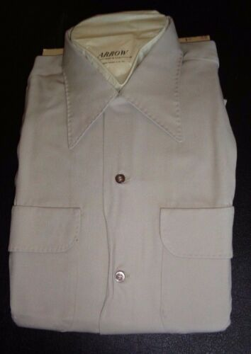 NOS 40's-50's ARROW Khaki Loop Collar! 2 Flap Pock
