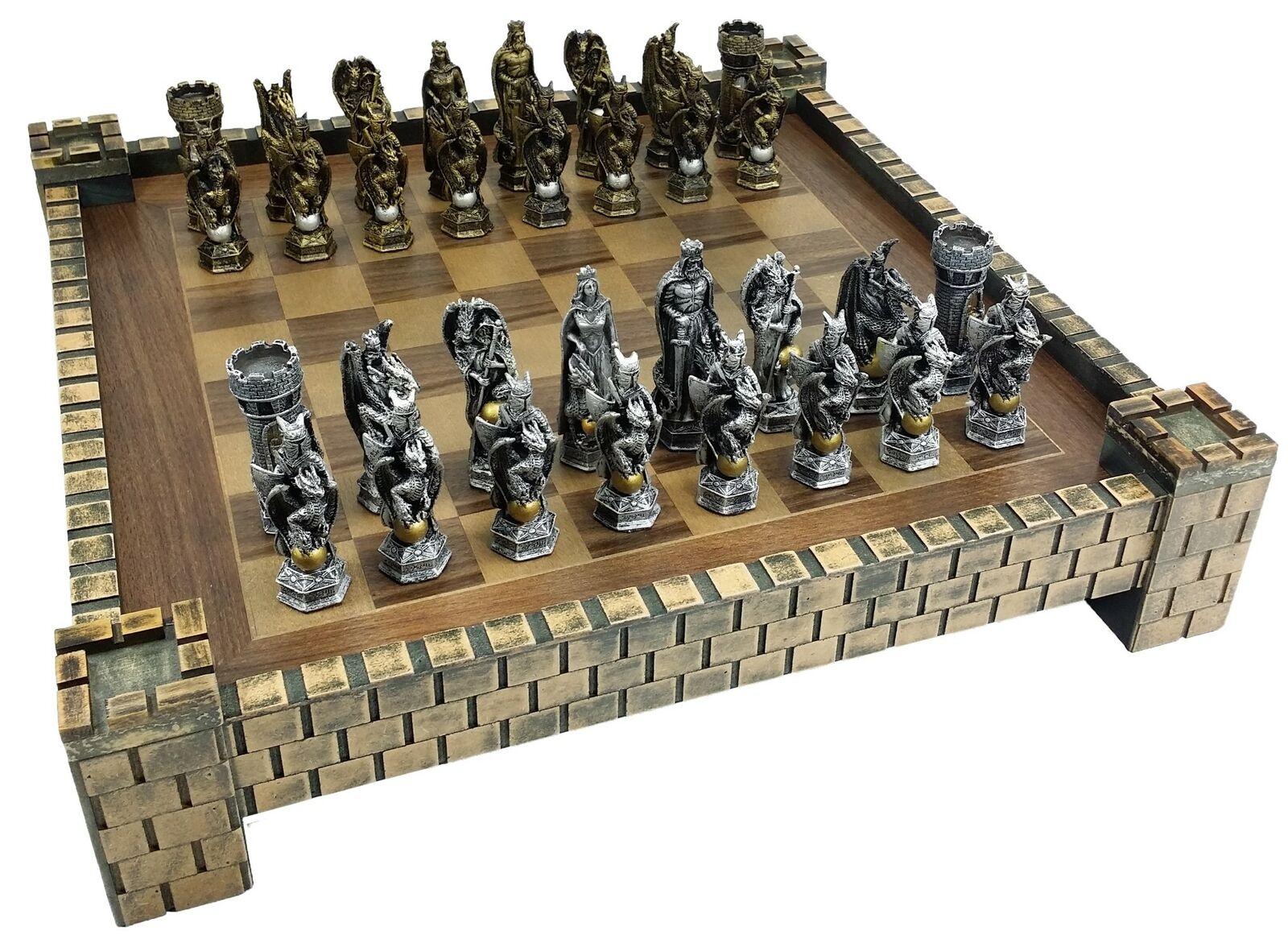 King Arthur Chevaliers avec Dragon Fantasy Medieval Times Chess Set Château Board 17