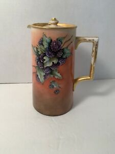 Rare-American-Belleek-Lenox-Pitcher-With-Lid-Purple-Berries