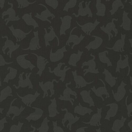 Spooky Cats in the Dark Silhouettes on Black 100/% Cotton Patchwork Fabric