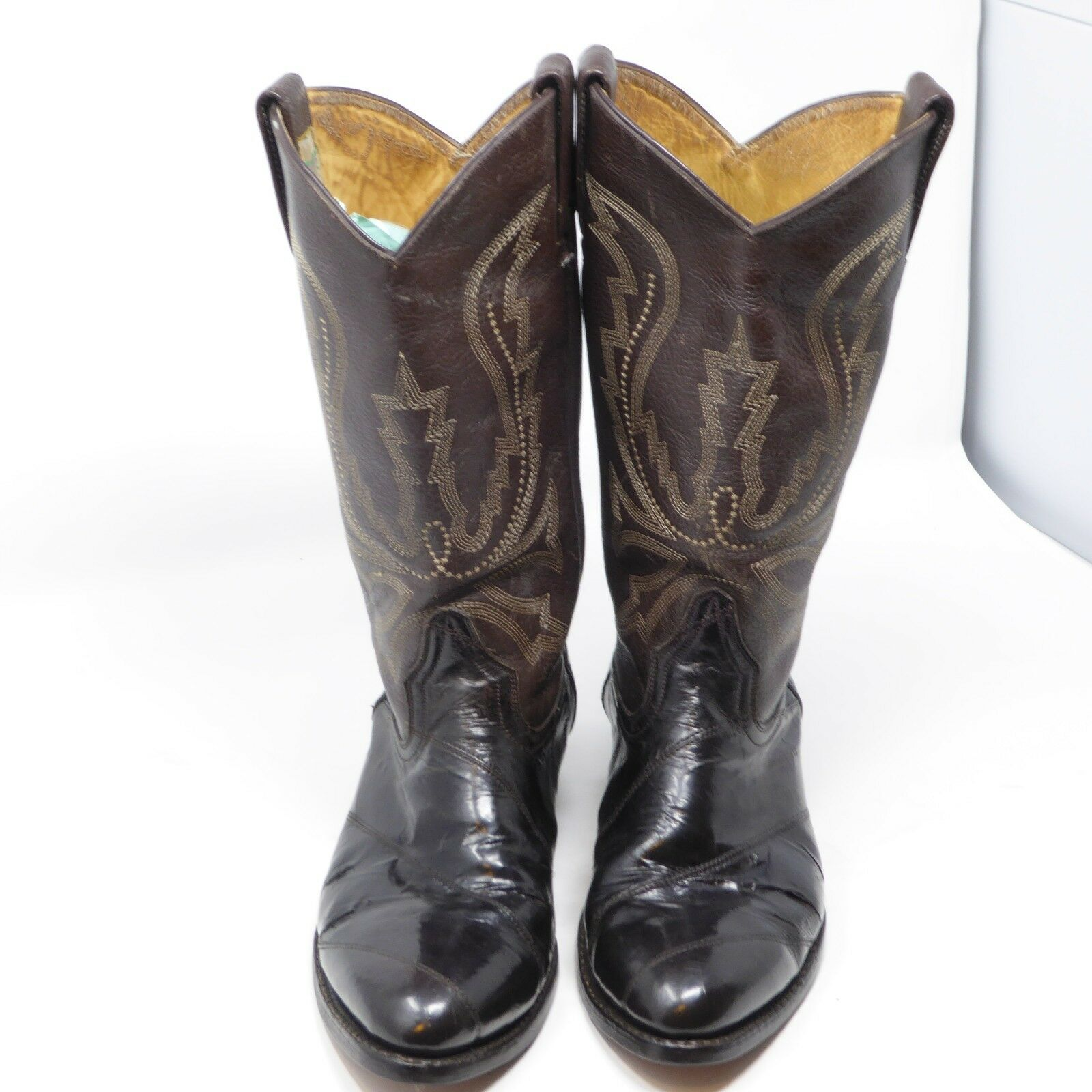 """MEN'S COWBOY BROWN & BLACK LEATHER BOOTS BY """"BOOTS AFRICAN"""" Size 9"""