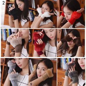Women-Faux-Rabbit-Fur-Wrist-Knitted-Gloves-Winter-Arm-Warmer-Fingerless-Mittens