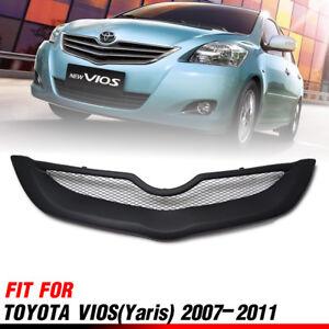 Front Matt Matte Black Net Grille Grill For Toyota Vios Belta Sedan 2007-2012