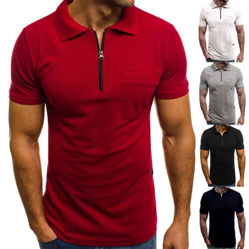 Mens Summer Short Sleeve Zipper Neck Polo Shirts Casual Top Pique Work T-shirts