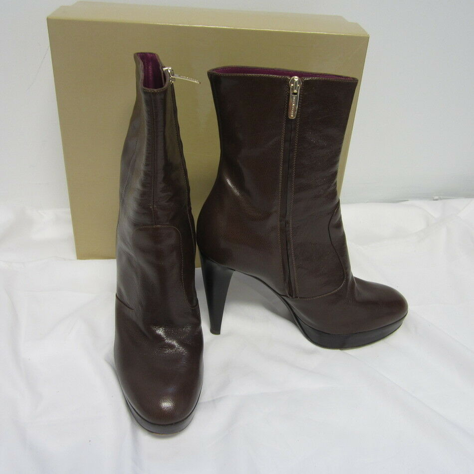 SERGIO ROSSI BROWN LEATHER ANKLE BOOTS SIDE ZIPPER SZ 38.5 US 8.5  795