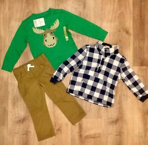 390d11f6f New! Carter s Boys  3 piece Playwear Set Cool Moose Theme Blue Plaid ...