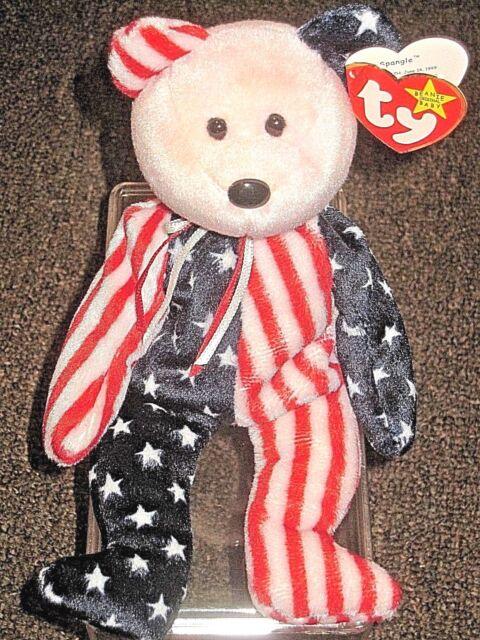 Ty Beanie Babies Original Spangle Patriotic Pink Face P E Pellets 1999 Errors