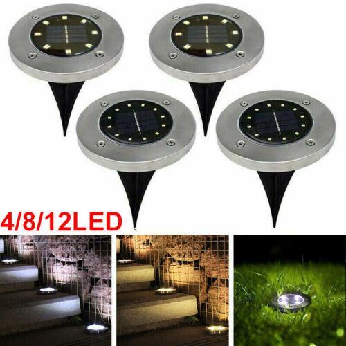 4//8//12LED Solar Power Ground Lights Floor Decking Outdoor Garden Lawn Path Lamp