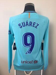 on sale 6da05 a9760 Details about SUAREZ #9 BNWT Barcelona Long Sleeve Away Football Shirt  Jersey 2017/18 (M)