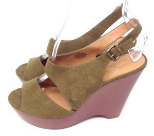 627d3e4cbfa Nine West Sandals Heels Womens Green Open Toe Slingback Platform ...