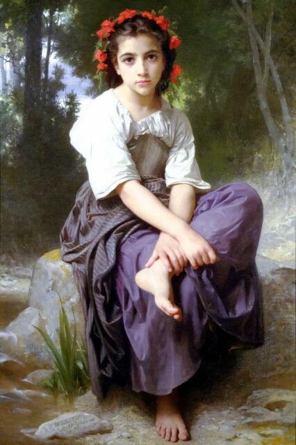 Print AT EDGE OF BROOK Barefoot c19th Victorian Peasant Farm Girl Roses in Hair