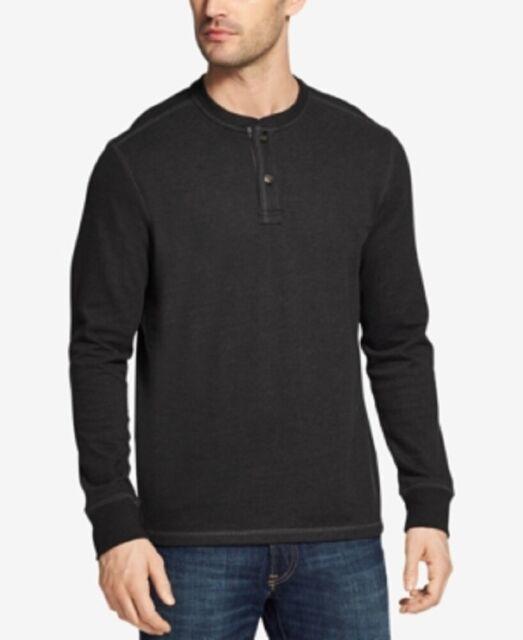 G.H. Bass & Co. Men's Knit Henley Shirt, Black Heather, XXL