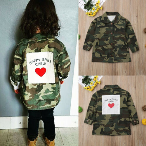 New Girls Boys Camo Jacket Kids Autumn Long-Sleeved Button Coats Age 2-8Years