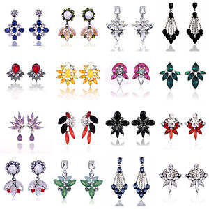 Elegant-Crystal-Rhinestone-Flower-Ear-Clip-Stud-Dangle-Drop-Earrings-Jewelry-New