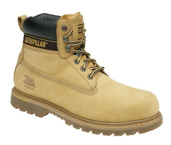 MENS SIZE 7 8 9 10 11 12 13 CAT CATERPILLER HOLTON LIGHT BROWN SAFETY WORK BOOTS