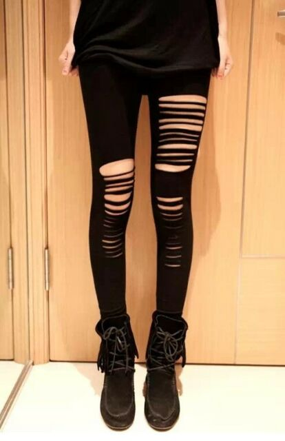 Women New Black Sexy Ripped Slashed Destroyed Lace Mesh Microfibre Leggings S- M