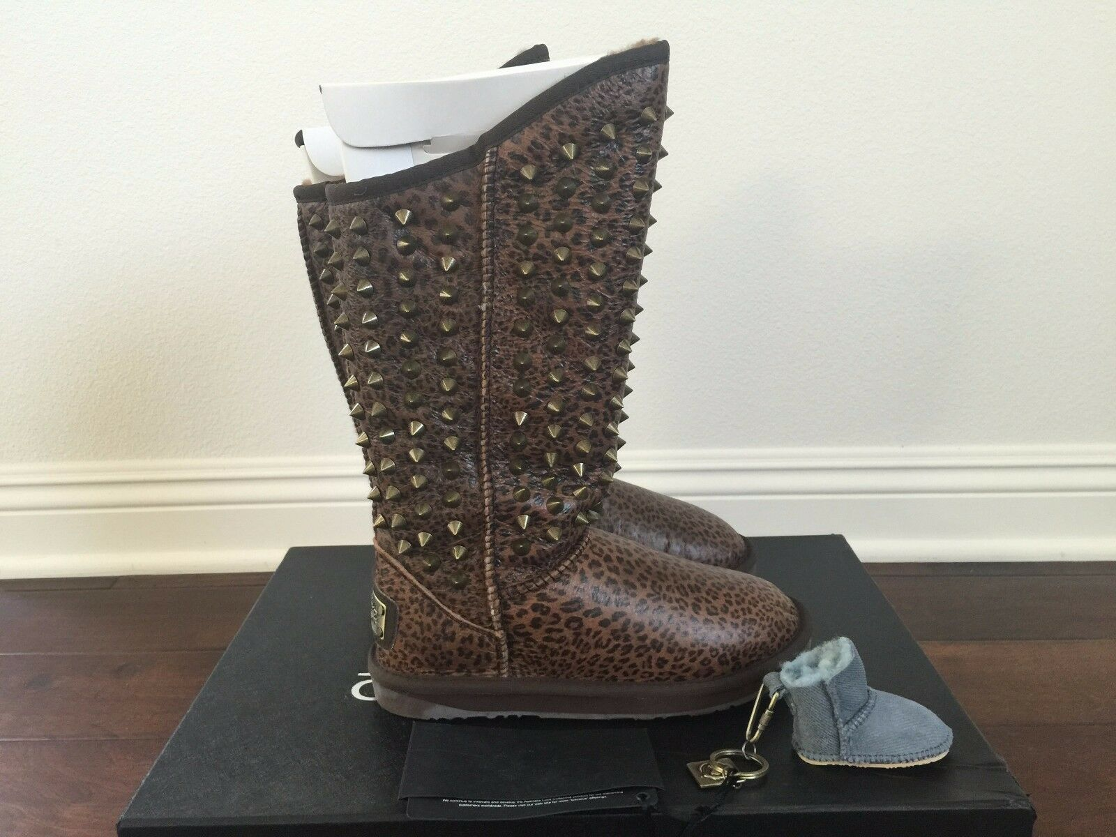 Australia Luxe Collective Pistol Tall Leopard Studded Boots w/ Free Key Chain