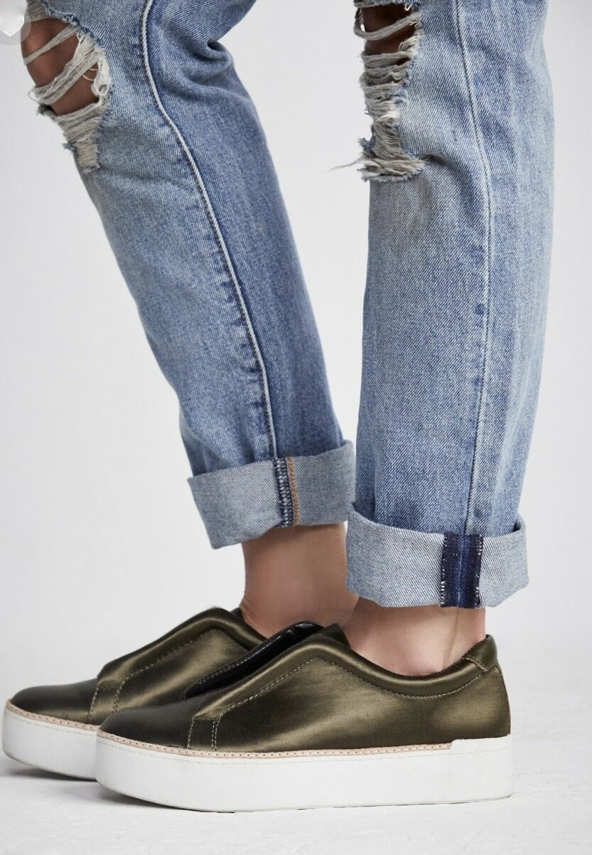 NIB Free People X   X M4D3 army Satin Slip On  Thick White Rubber Sole 8.5 c9c074