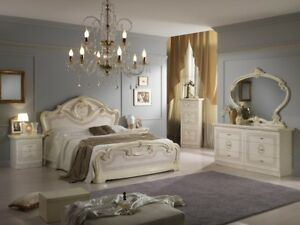 Klassisches Schlafzimmer Komplett Set Bett Nachttische Kommoden ...