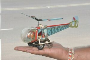 Vintage-ALPS-Litho-Colorful-Helicopter-Wind-Up-Tin-Toy-Japan