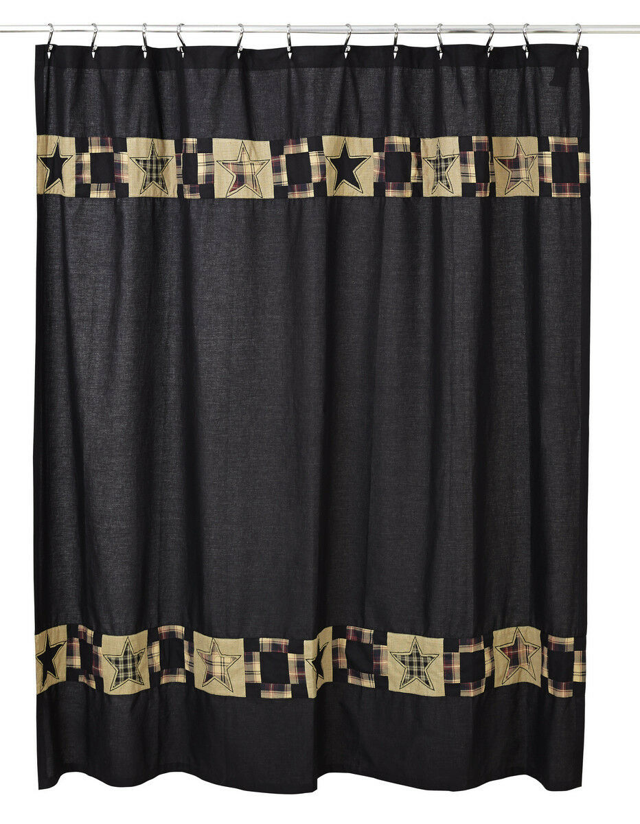 Olivia's Heartland country primitive handmade REVERE Fabric SHOWER CURTAIN schwarz