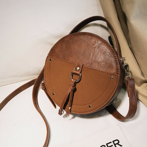 Ladies Round Crossbody Bag PU Solid Color Adjustable Strap Shoulder Hand Bag