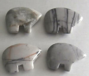 4-Grey-Picasso-Marble-Gemstone-Zuni-Bears-Native-American-Crafts-Jewellery
