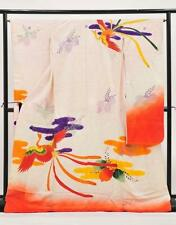 Kimono Furisode Wedding Kakeshita Phoenix Bird on White 100% Silk